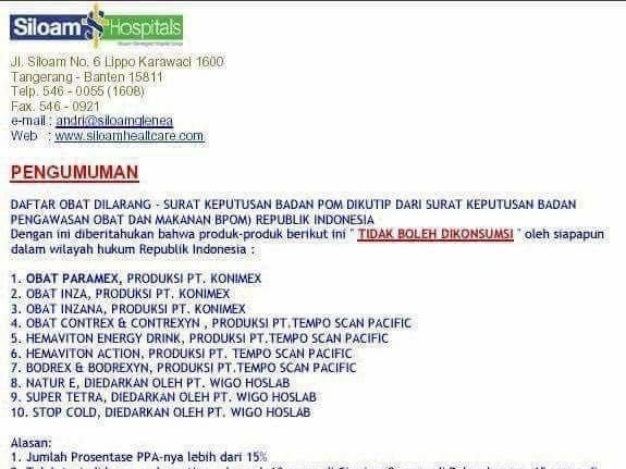Hoax Daftar Obat Terlarang Bpom Kop Surat Rs Siloam