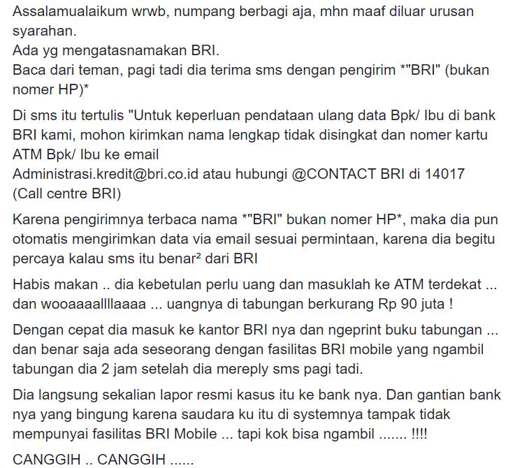 Hoax Pesan Berantai Atas Nama Bank Bri Turnbackhoax