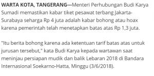 Salah Tiket Pesawat Jakarta Surabaya Jelang Lebaran Rp4