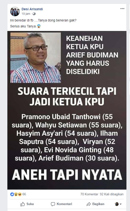 SALAH] Ketua KPU Arief Budiman Terpilih Walau Suara Terkecil