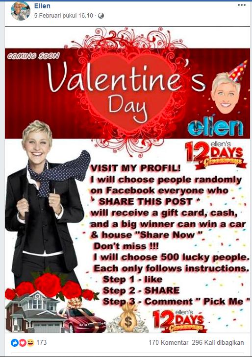 Salah Ellen Degeneres Bagi Bagi Hadiah Valentine Di Facebook Is