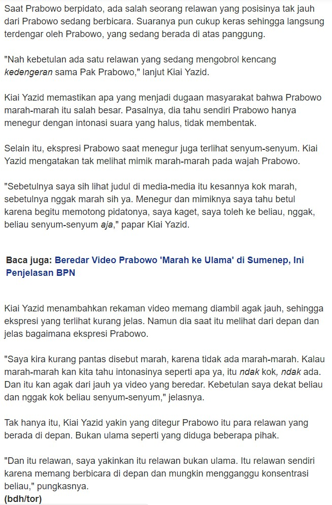 SALAH] Prabowo Marah Pada Ulama dan Tokoh Masyarakat di