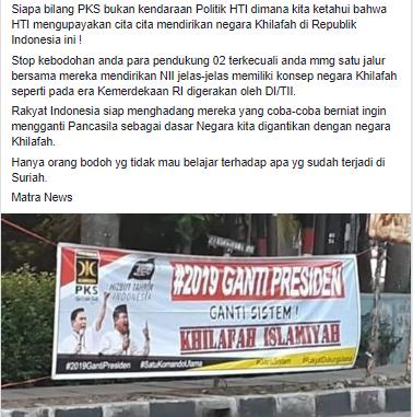 salah spanduk berlogo pks dan hti bertuliskan 2019 ganti presiden ganti sistem khilafah islamiyah turnbackhoax spanduk berlogo pks dan hti bertuliskan
