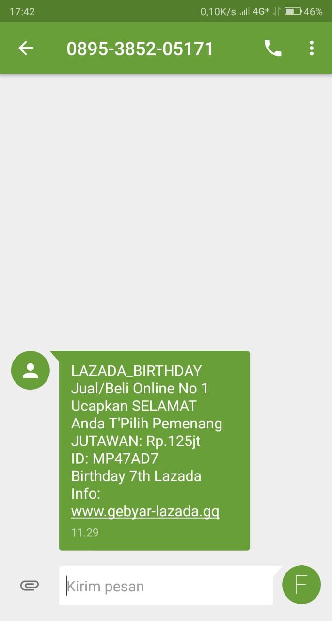Salah Sms Hadiah Lazada Birthday Turnbackhoax