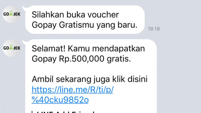 Salah Voucher Gratis Go Pay Rp500 Ribu Di Line Turnbackhoax