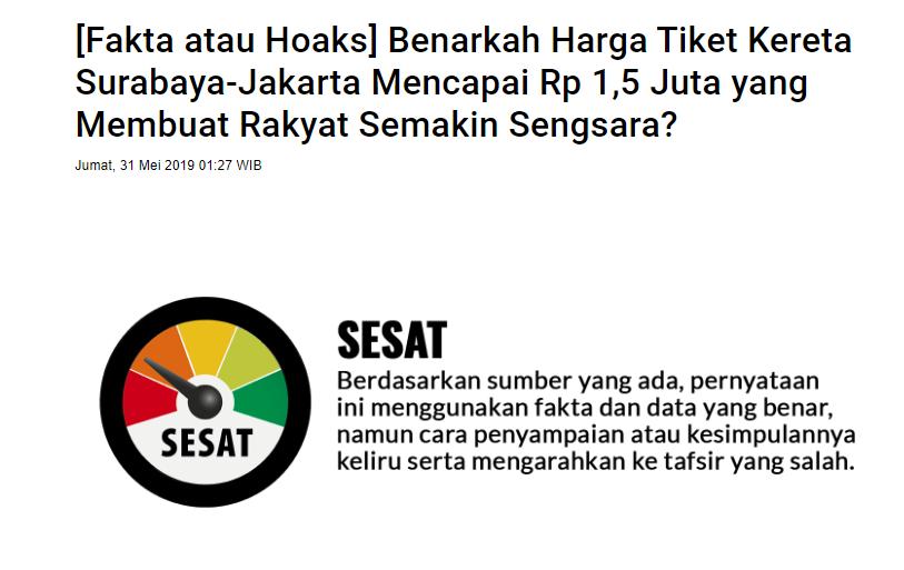 Klarifikasi Harga Tiket Kereta Jkt Sby Dijual Hingga Rp 1 5