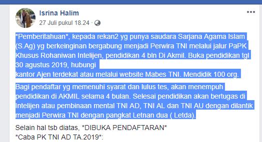 """KLARIFIKASI] """"TNI Bantah Rekrut Lulusan Sarjana Agama Islam"""