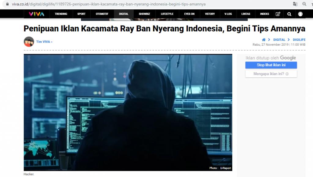 Salah Promo Iklan Kacamata Ray Ban Di Instagram Turnbackhoax