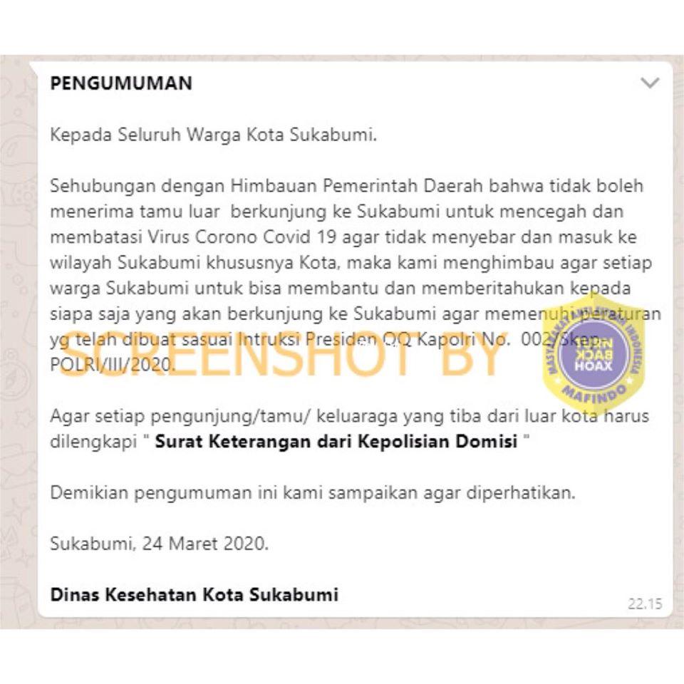 Salah Masuk Kota Sukabumi Harus Memiliki Surat Keterangan Dari Kepolisian Domisili Turnbackhoax