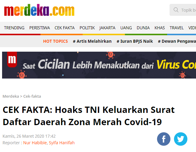 SALAH Daftar Zona Merah Daerah Terjangkit Virus Corona ...