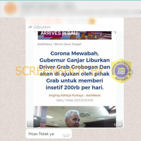 """[SALAH] """"Corona Mewabah, Gubernur Ganjar Liburkan Driver Grab Grobogan Dan akan di ajukan oleh pihak Grab untuk memberi insetif 200rb per hari."""""""