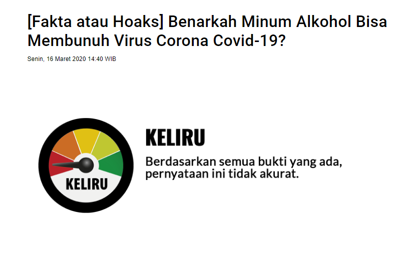 """[SALAH] """"Alkohol Bisa Membunuh Coronavirus Covid-19"""""""