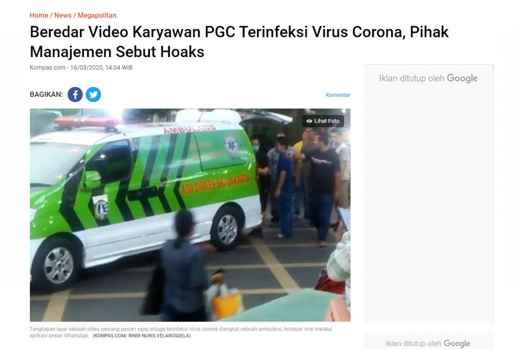 """[SALAH] Video """"ini di PGC evakuasi pasien COVID 19."""""""
