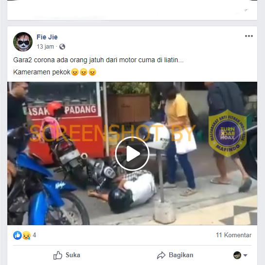"""[SALAH] Video """"Gara2 corona ada orang jatuh dari motor cuma di liatin"""""""