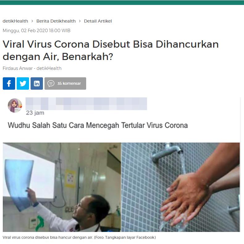 """[SALAH] """"Coronavirus akan hancur dengan air"""""""