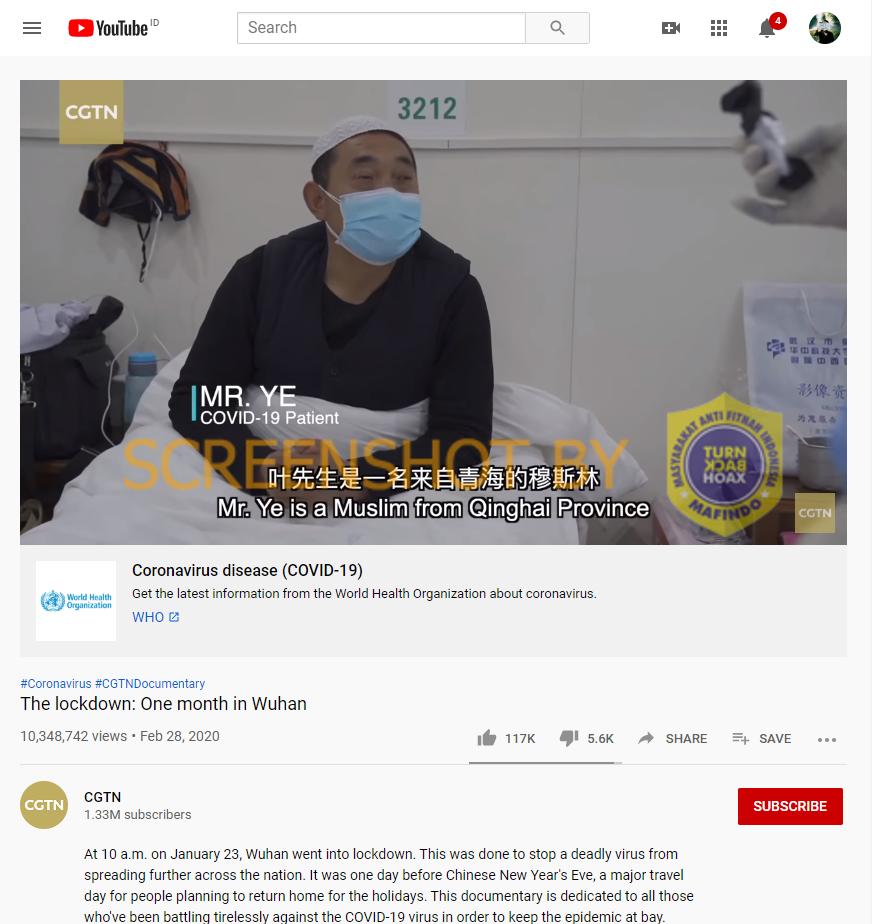 """[SALAH] Video """"Sholat Jum'atan di China menjadi lautan manusia, orang Islam di Wuhan tidak Satupun yang kena virus corona"""""""