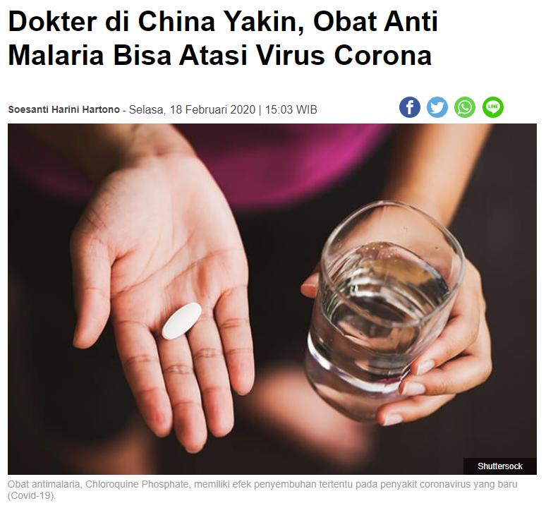 [BERITA] Perkembangan Chloroquine Untuk Obat COVID-19