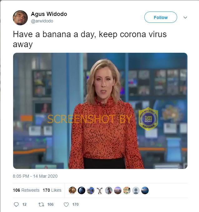 [SALAH] Mengonsumsi Pisang Dalam Sehari, Membuat Virus Corona Pergi