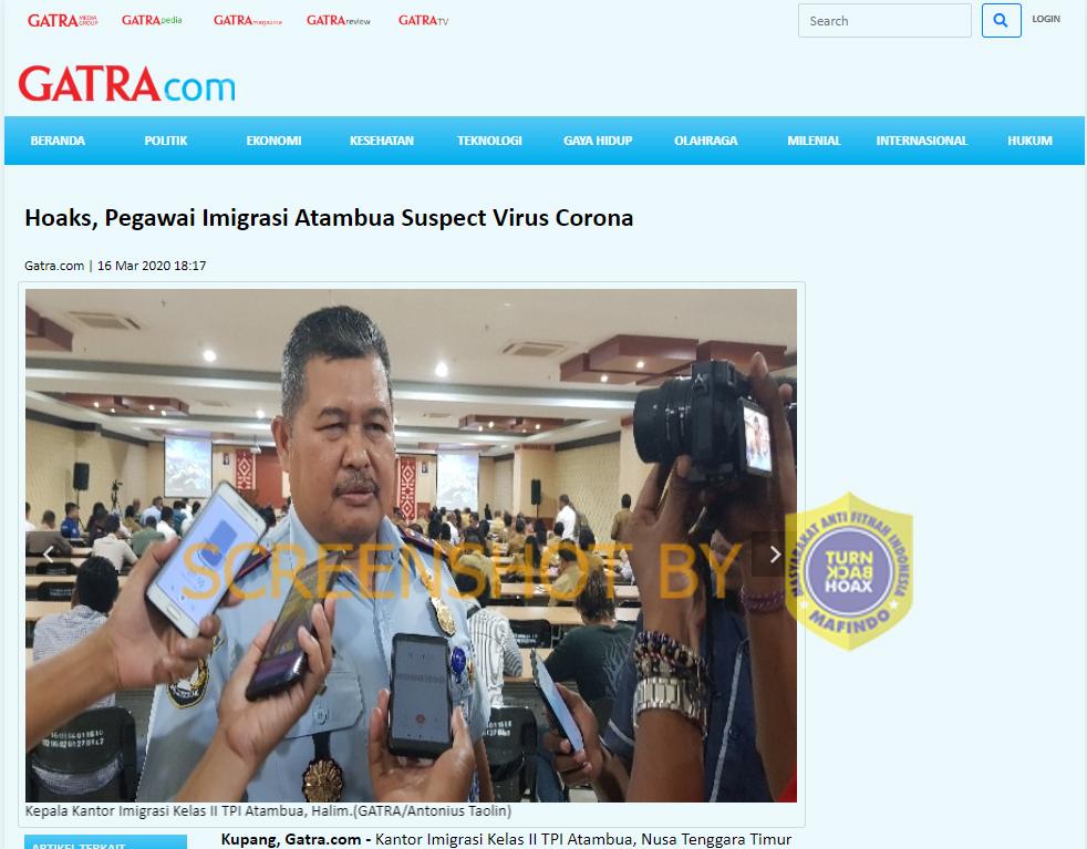 [SALAH] Satu Pasien Pertama Suspect Corona Terdeteksi di Atambua