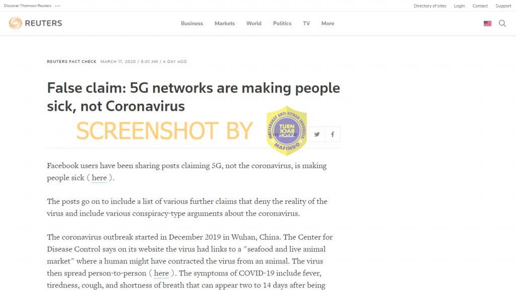[SALAH] Virus Corona Bukanlah Virus, Sinyal 5G yang Sebenarnya Membunuh Orang