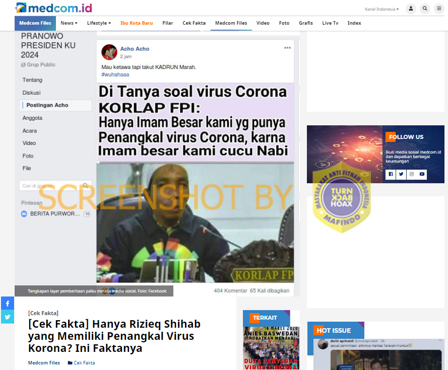 "[SALAH]""Di tanya soal virus corona korlap FPI: hanya imam besar kami yg punya penangkal virus corona,karna imam besar kami cucu nabi"""