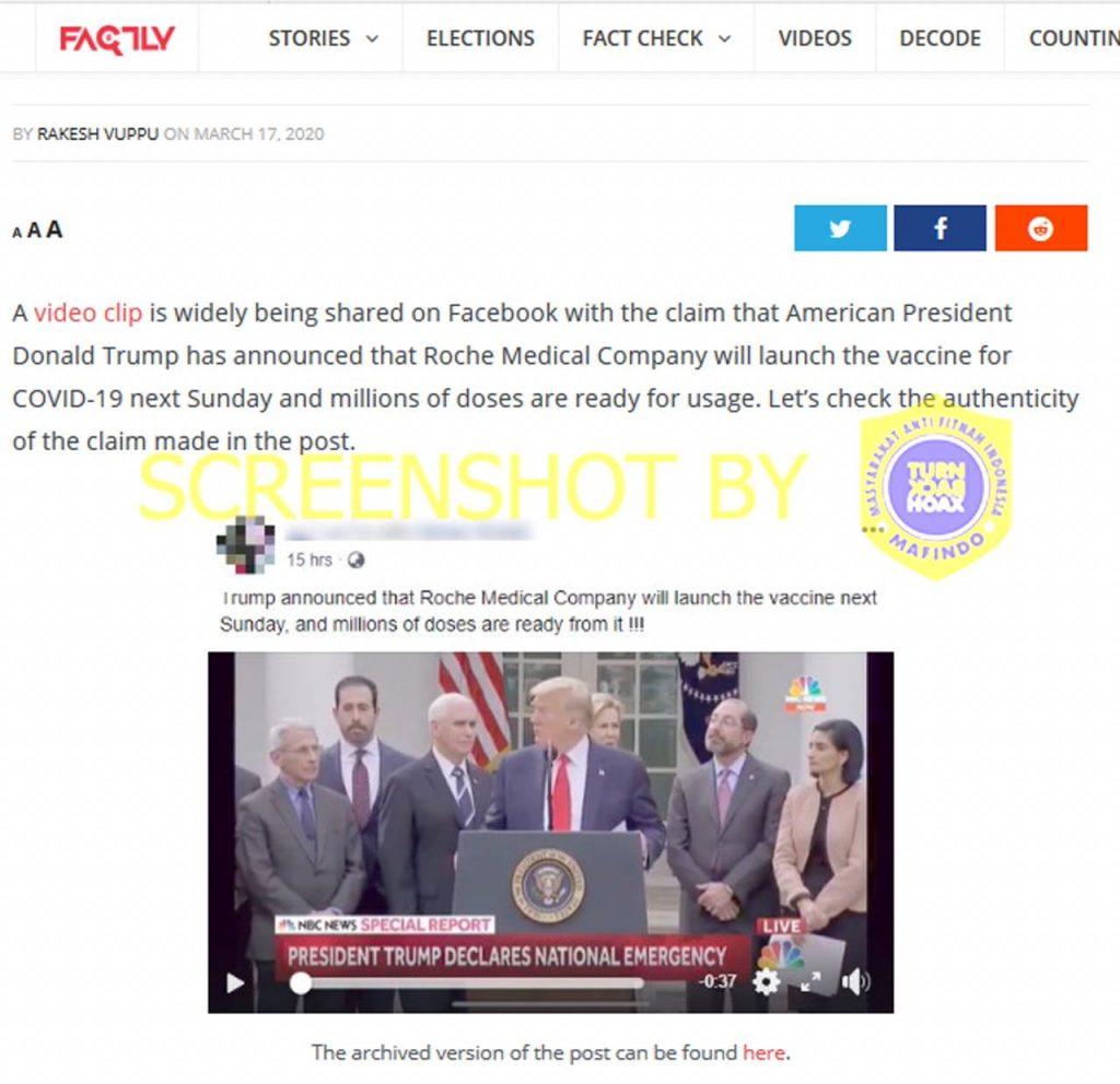 [SALAH] Donald Trump Umumkan Roche Medical Company akan Meluncurkan Vaksin Covid19 Jutaan Dosis Minggu Depan