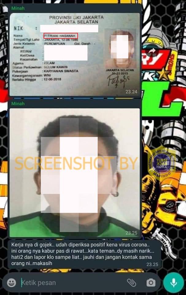 [SALAH] Suspect Corona Yang Melarikan Diri Dari RS Persahabatan Merupakan Driver Ojek Online