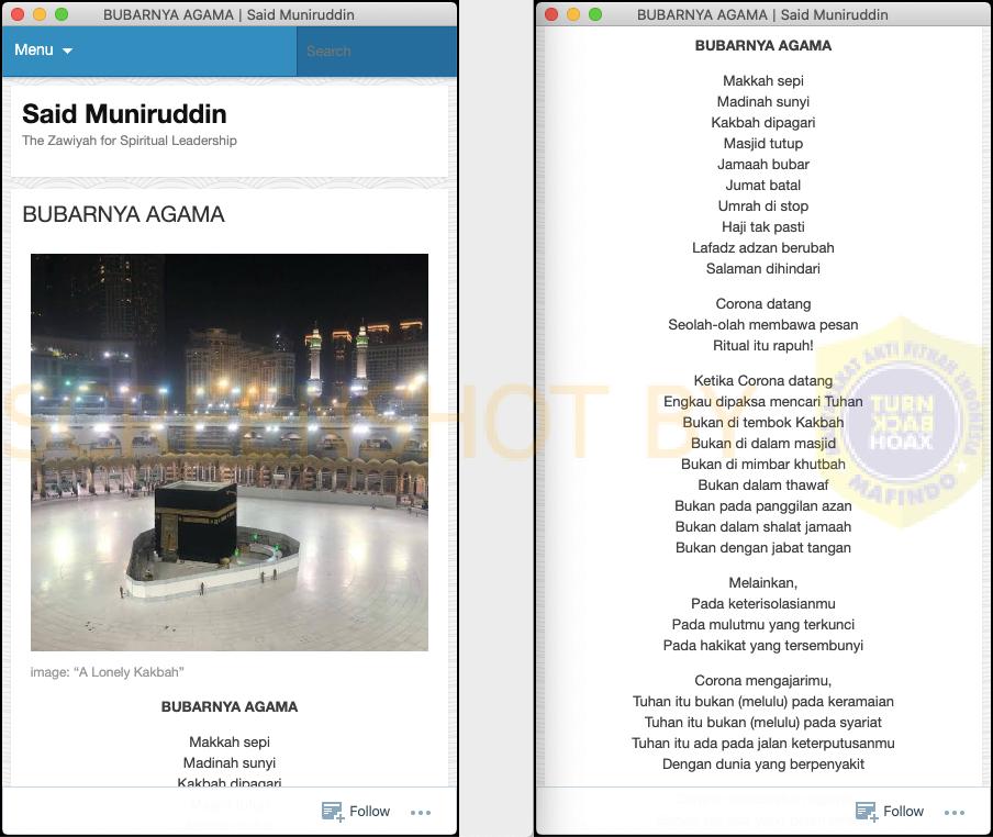 """[SALAH] Pesan Berantai """"BUBARNYA AGAMA By. Ahmad Mustofa Bisri"""""""