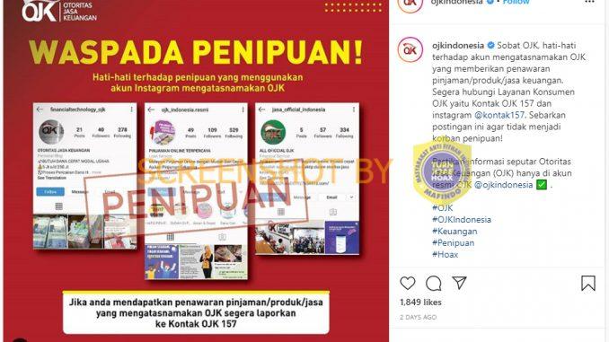 Salah Akun Instagram Peminjaman Online Ojk Turnbackhoax