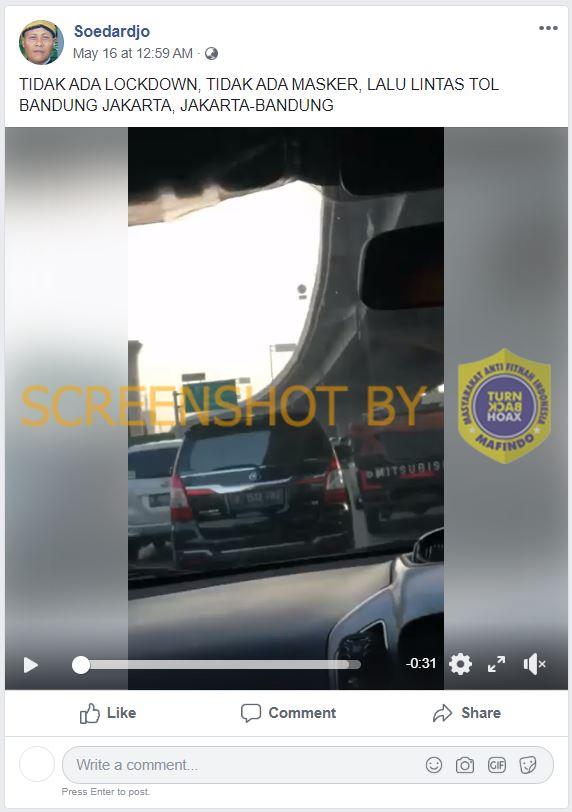 Potongan gambar tentang video bahwa jalur Tol Jakarta - Bandung sudah tidak lagi memberlakukan pembatasan sosial. (Foto: MP/turnbackhoax.id)