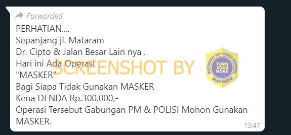 Tangkapan layar hoaks denda tidak menggunakan masker di Semarang. (Foto: MP/turnbackhoax.id)