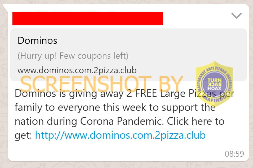 Tangkapan layar berita hoaks terkait Domino's Pizza. (Foto: MP/Turnbackhoax.id)