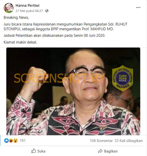 Tangkapan layar kabar Ruhut Sitompul diangkat jadi anggota BPIP. (Foto: MP/turnbackhoax.id)