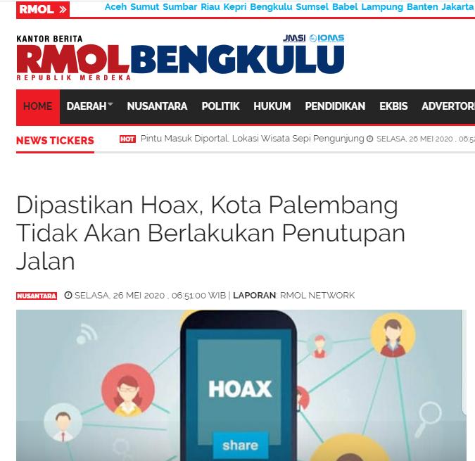 Salah Buntut Penerapan Psbb Di Palembang Batas Operasional Akses Hingga Pukul 14 00 Hoax Buster Satgas Penanganan Covid 19