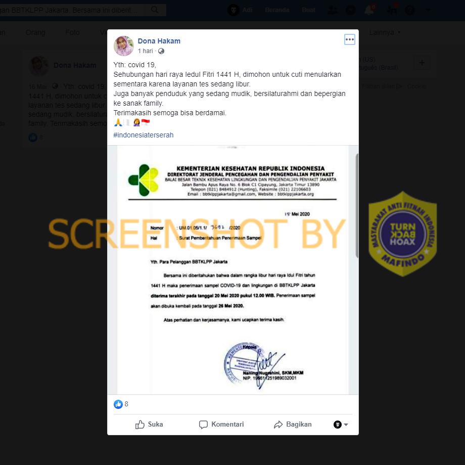 """[SALAH] """"penerimaan Sampel COVID-19 Di BBTKLPP Jakarta"""