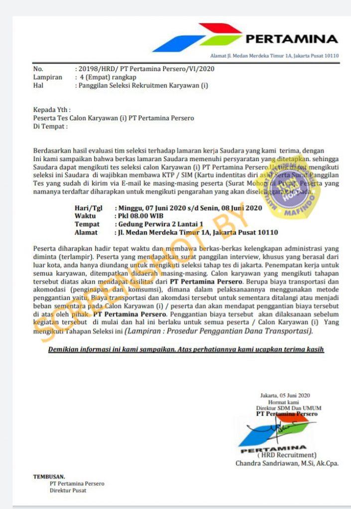 Salah Panggilan Seleksi Rekrutmen Pertamina Tanggal 7 8 Juni 2020 Turnbackhoax