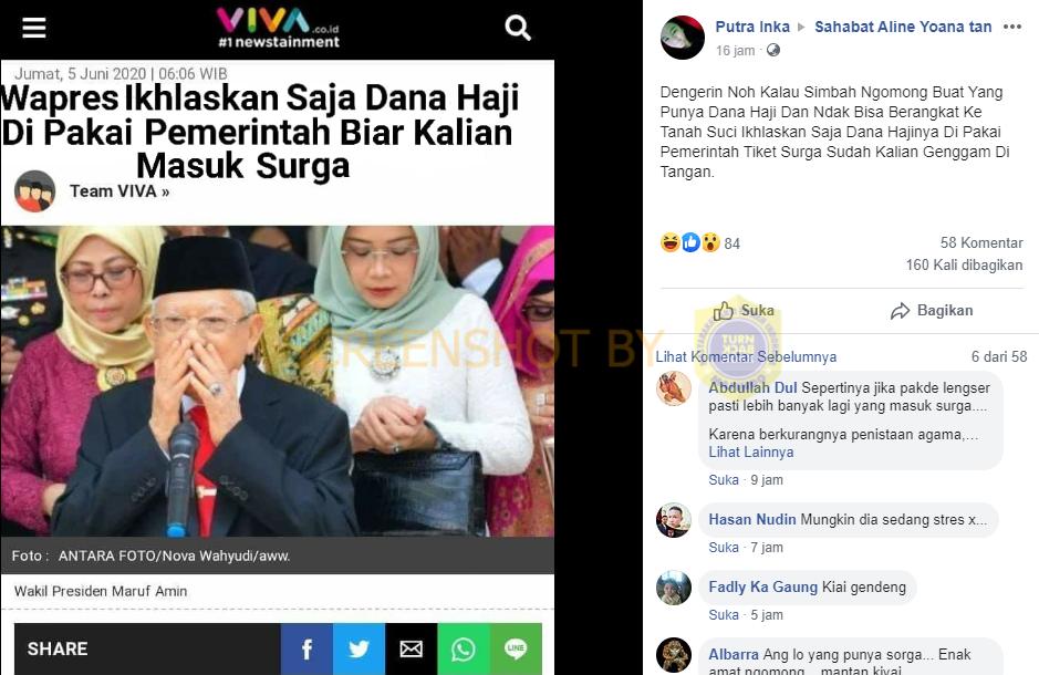 Tangkapan layar unggahan Facebook kabar Wapres Ma'ruf Amin minta masyarakat ikslaskan dana haji. (Foto: MP/Turnbackhoax.id)