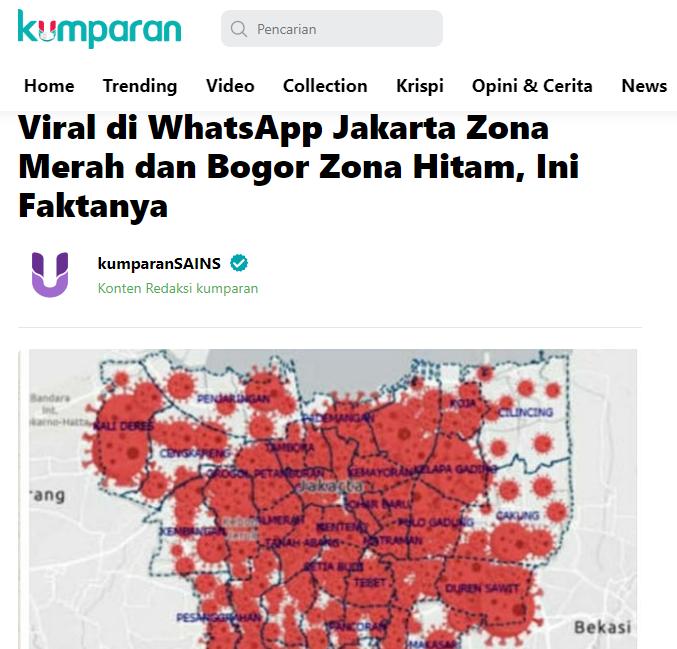 """SALAH Peta Kasus Covid DKI """"DKI kembali Zona Merah ..."""