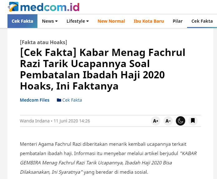 "[SALAH] ""KABAR GEMBIRA Menag Fachrul Razi Tarik Ucapannya, Ibadah Haji 2020 Bisa Dilaksanakan, Ini Syaratnya"""