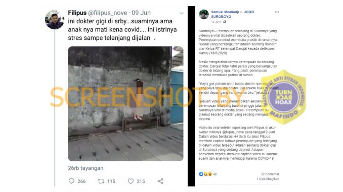 [HOAKS atau FAKTA]: Dokter di Surabaya Telanjang Bulat Stres Suami dan Anaknya Meninggal karena COVID-19
