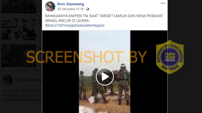 [FAKTA Atau HOAKS]: Sniper TNI Tembak Pesawat Tempur Israel