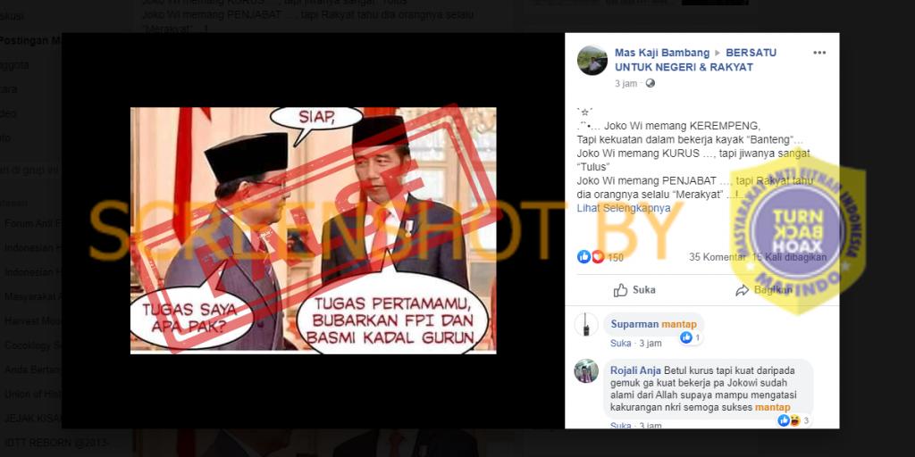 Tangkapan layar berita percakapan Jokowi dengan Prabowo tentang penangkapan kadrun. (Foto: MP/turnbackhoax.id)