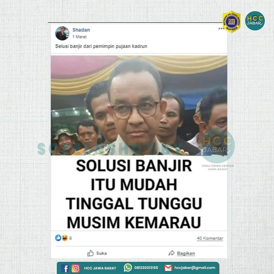 Tangkapan layar unggahan Facebook soal Gubernur DKI Jakarta Anies Baswedan. (Foto: MP/turnbackhoax.id)