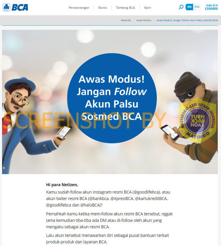 Salah Akun Media Sosial Palsu Dengan Nama Bank Bca Turnbackhoax Id