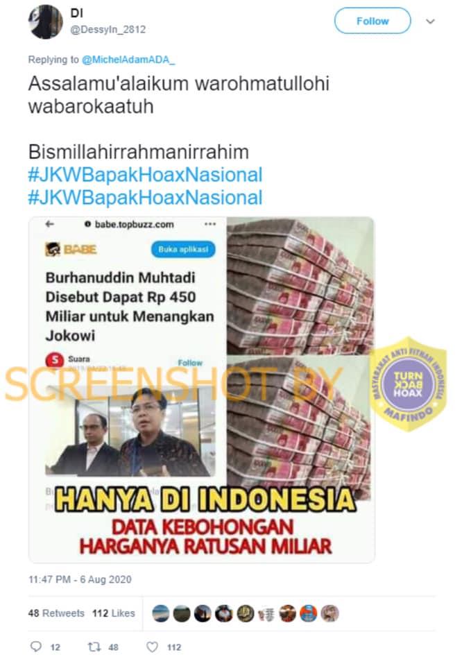 Tangkapan layar Twitter tentang Burhanuddin Muhtadi mendapat uang ratusan miliar karena memenangkan Jokowi di Pilpres. (Foto: MP/turnbackhoax.id)