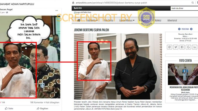 Tangkapan layar Facebook tentang Jokowi dan Fadli Zon. (Foto: MP/turnbackhoax.id)