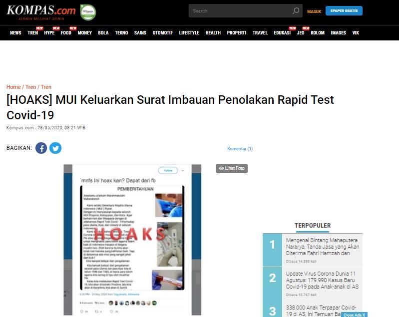 [SALAH] Surat Edaran Penolakan Rapid Test Majelis Ulama