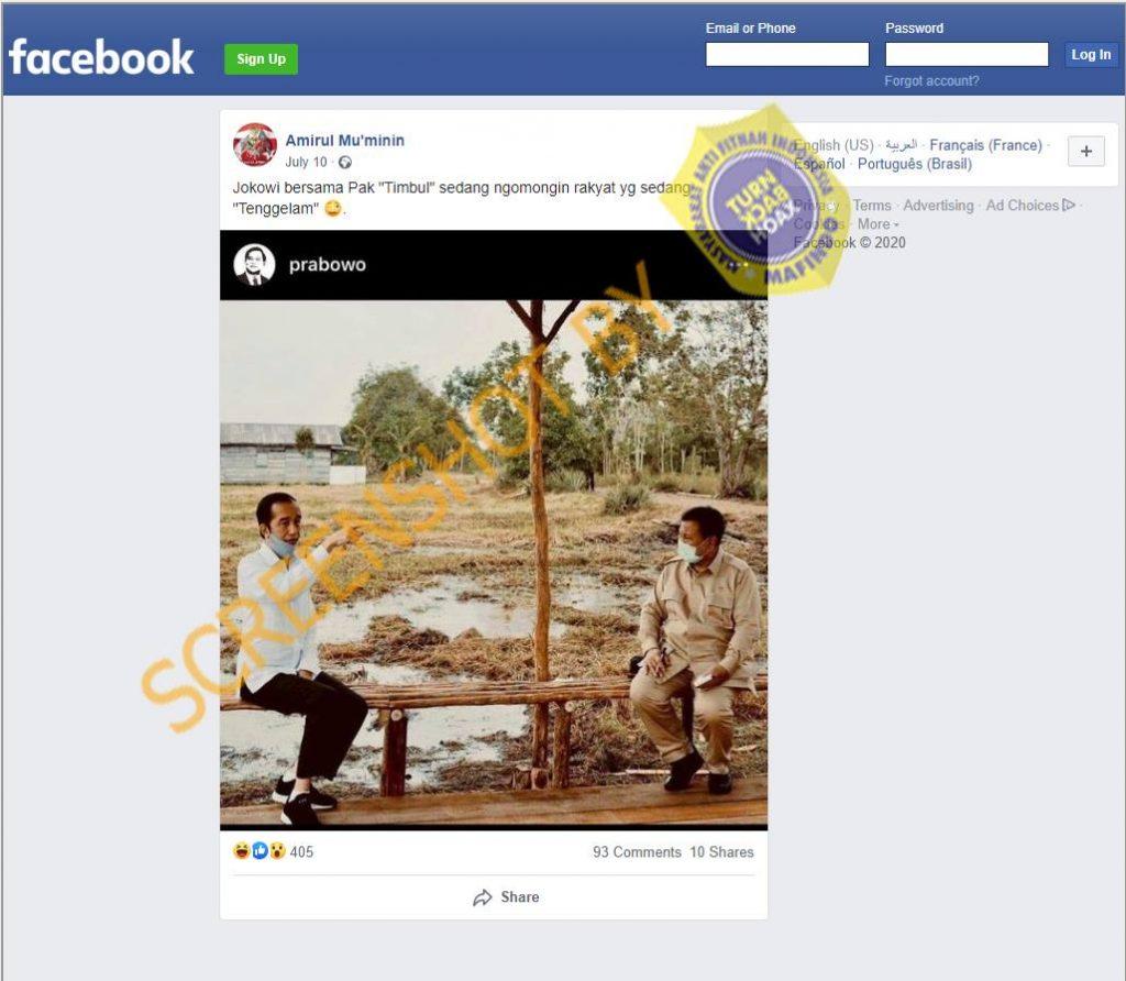 Tangkapan layar Facebook yang menyatakan Jokowi dan Prabowo membahas rakyat yang tenggelam. (Foto: MP/turnbackhoax.id)