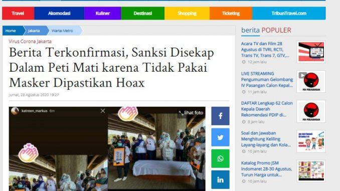 [HOAKS atau FAKTA]: Tak Pakai Masker, Warga di Jalan Fatmawati Dihukum Masuk ke Peti Mati
