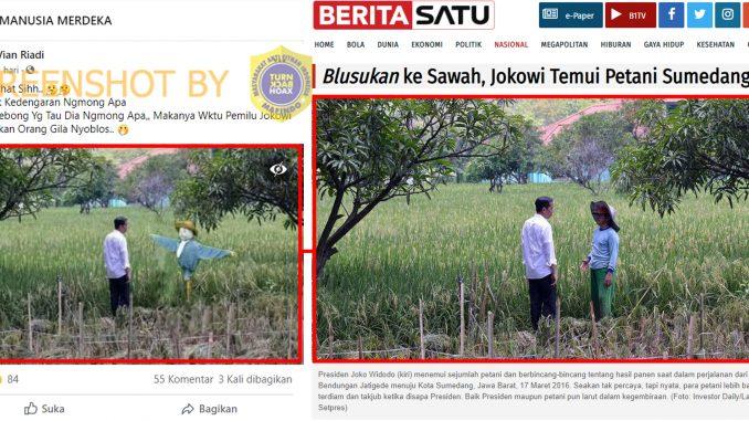 [HOAKS atau FAKTA): Jokowi Curhat sama Orang-orangan Sawah